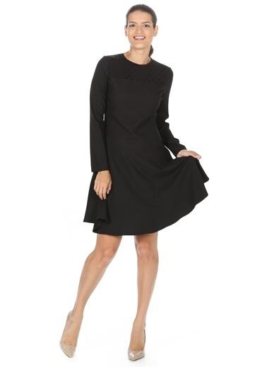 Cotton Bar Uzun Kollu Kloş Elbise Siyah